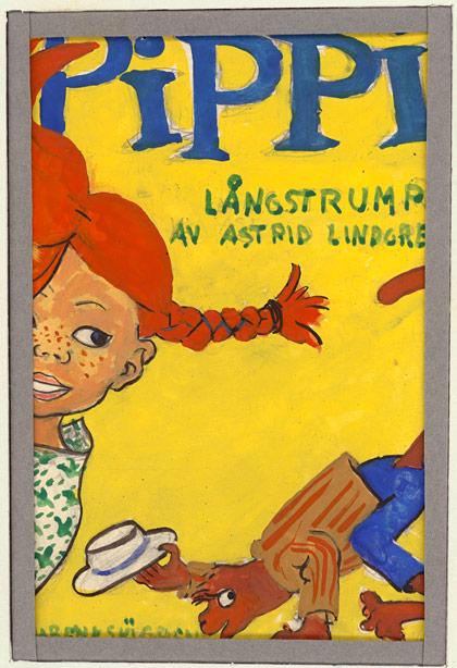 Ingrid Vang Nymans färgskiss till den första boken om Pippi Långstrump