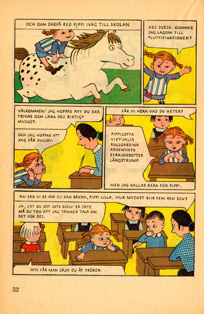 Pippi-serie i tidningen Klumpedumpe tecknad av Ingrid Vang Nyman