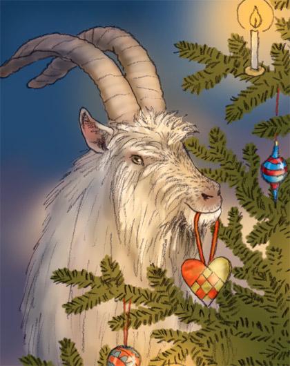 detalj av julkort med julbock