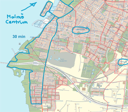 Karta cykeltur runt Öresundsbron