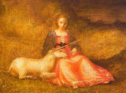 målning med enhörning och oskuldsfull flicka