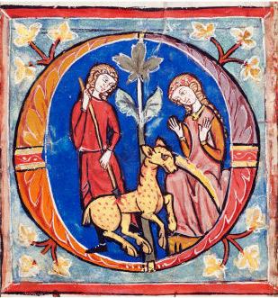 Medeltida målning fånga enhörning