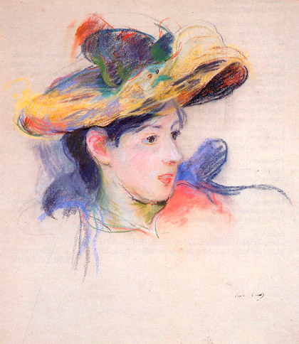Berthe-Morisot_Jeanne-Pontillon-wearing-a-hat_1893_pastel