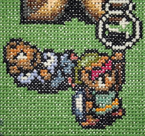 Per Fhagers spelkorsstygnsbroderier med Nintendo-motiv