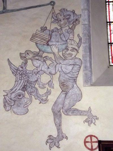 Djävlar och monster målade i gotländsk kyrka