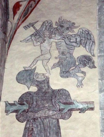 Djävulen tar riddares själ, Gotland medeltid kyrkmålning