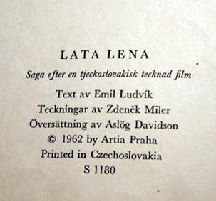 barnboken Lata Lena 1962 av Zdeněk Miler och Emil Ludvík