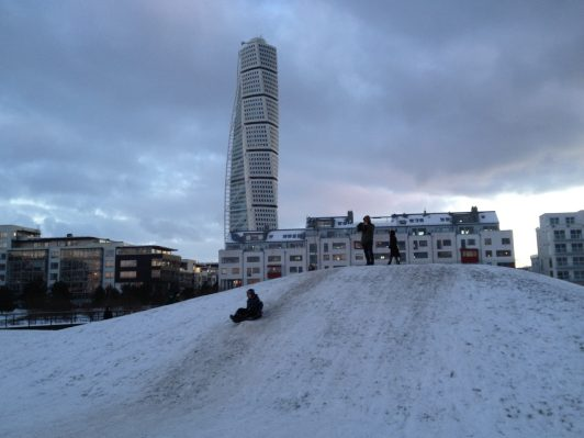 turning torso winter malmö sweden