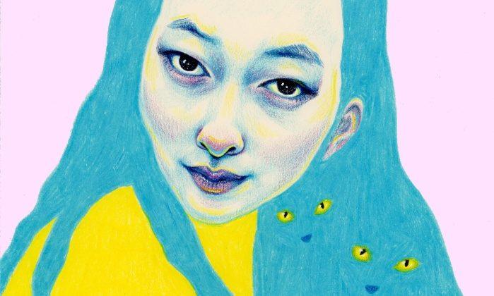 Detalj av Natalie Foss teckning Lulu Mew tillsalu på Society6