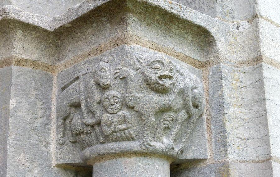 Stone artwork Lau church on Gotland