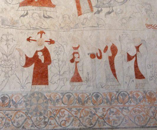 Lau kyrka detalj av medeltida kyrkomålning