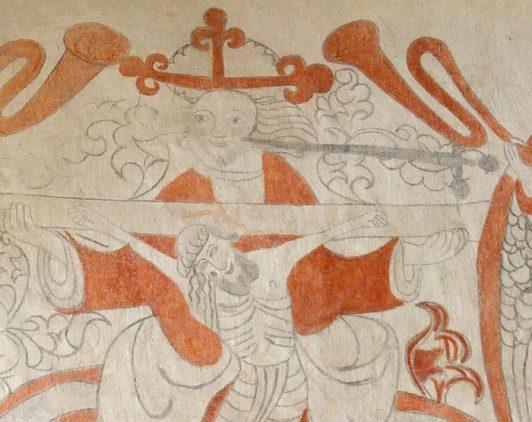 Detalj från Lau kyrka, Gud och Jesus på korset