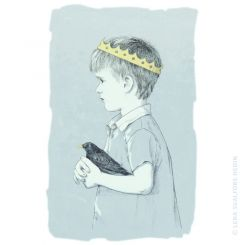 A little prince with a black bird graphite pen illustration