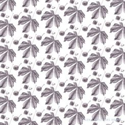 Tiled pattern with horse chestnut leafs and conkers grey graphite drawing