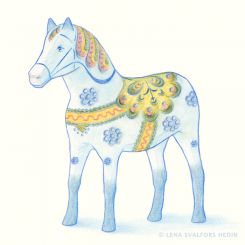 Colour pencil drawing of a wooden horse with painted decorations