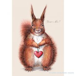 Animal drawing of a squirrel with a heart colour pencils and gouache