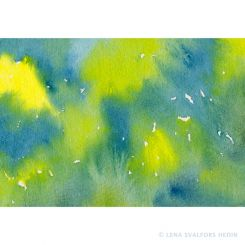 Abstract water colour painting in blue and yellow