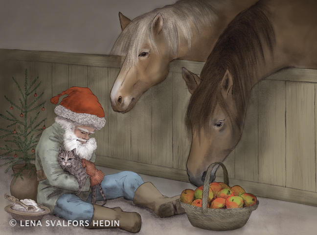 julkort-stalltomte-katt-god-jul-illustrator-lena-svalfors-hedin-teckning-copyrighted-VNN