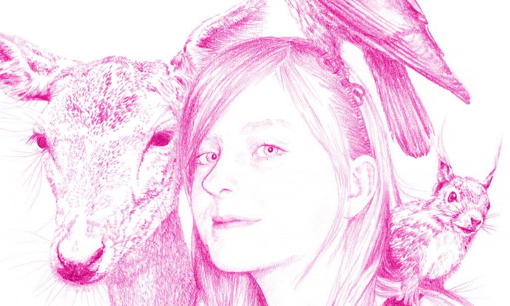 Teckning porträtt flicka djur detalj, av Lena Svalfors Hedin