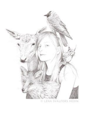 Porträtt av flicka och djur