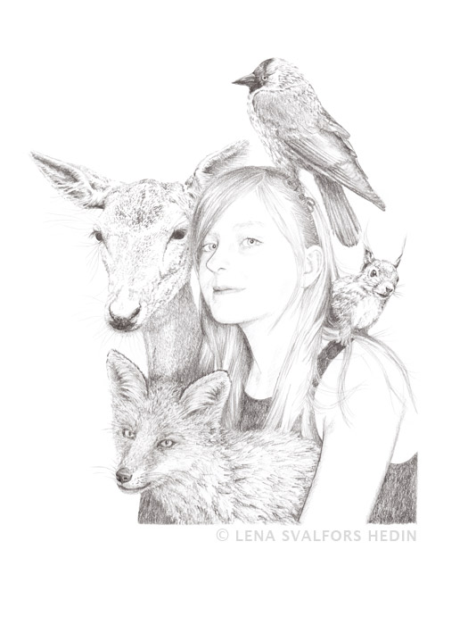 Portrait of girl and animals