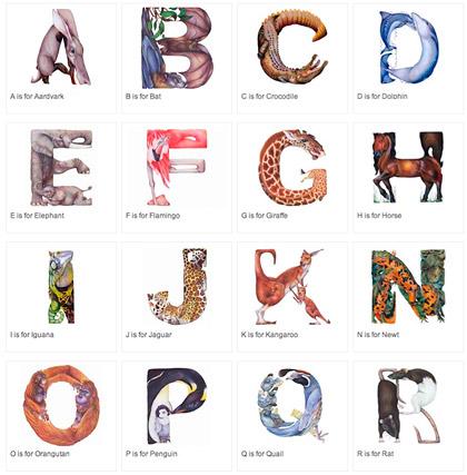 tecknat alfabet