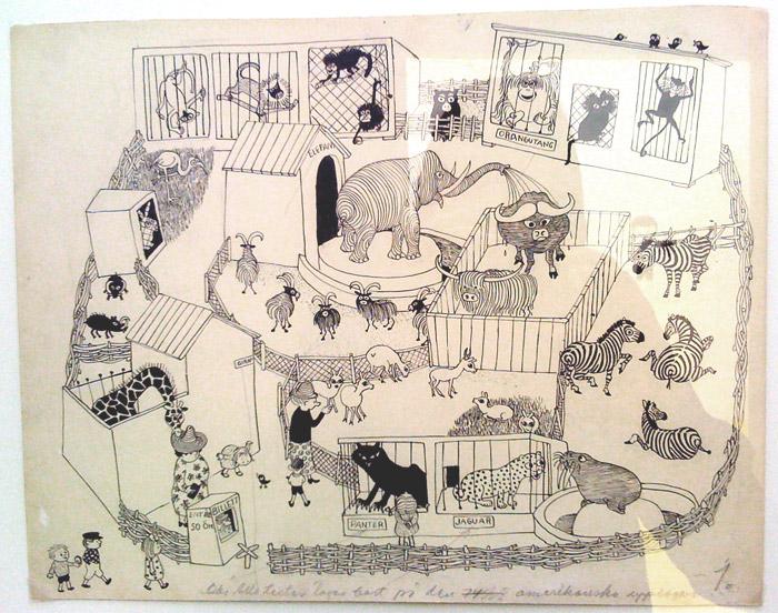 Original av illustratören Ingrid Vang Nyman på Millesgårdens utställning 2012
