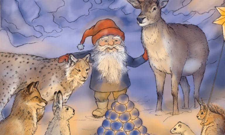 Del av tecknat julkort med nordiska djur