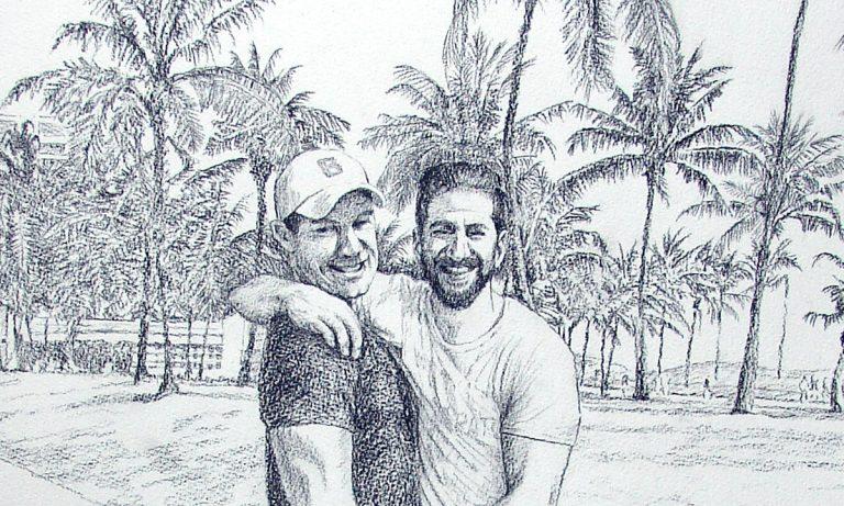 Tecknat porträtt av killar en sommardag med palmer