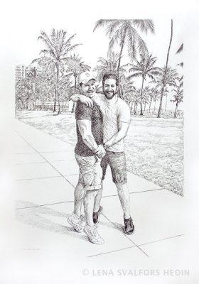 Dubbelporträtt teckning två killar