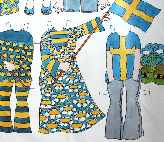 Paper doll clothes for Svea from Sweden drawing Barbro Hennius