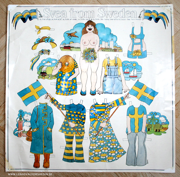 Swedish paper doll girl Svea illustrated by Barbro Hennius in the 70's