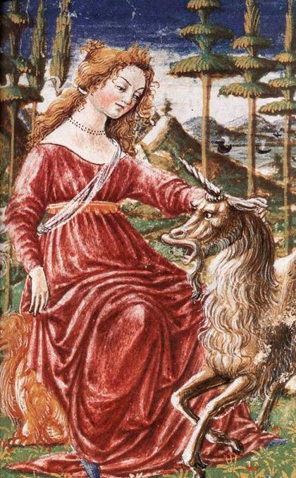 Målning av enhörning och jungfru