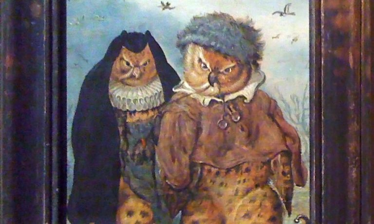 """""""How well we go together"""" old painting with owls"""