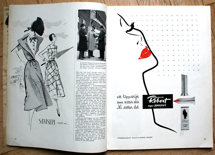 Swedish fashion illustration and ad 1950