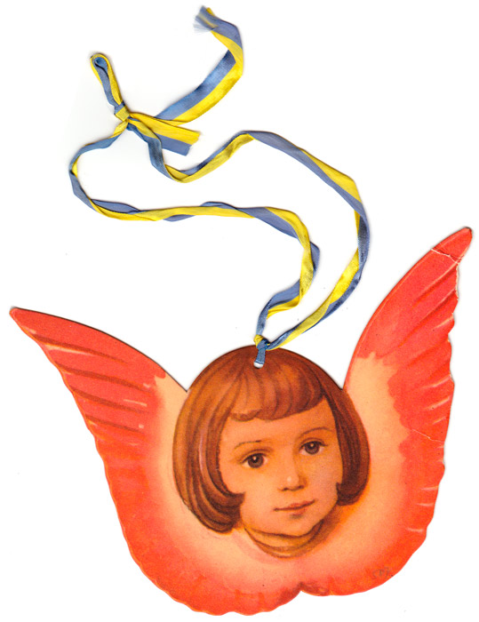 Swedish christmas paper decoration of an angel drawing by Helge Artelius
