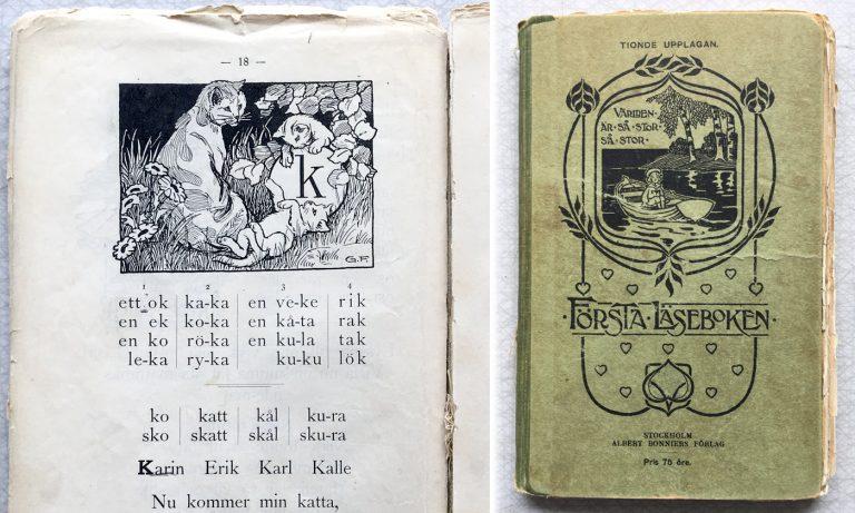 Omslag till Första läseboken Bonniers Förlag 1905, tionde upplagan 1911