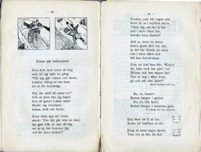 """""""Kisse på velociped"""" teckning av Gunhild Fachs"""