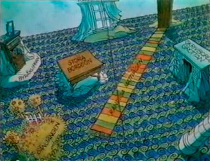 Hans Arnolds fina tecknade karta från Fröken ensam hemma åker gungstol