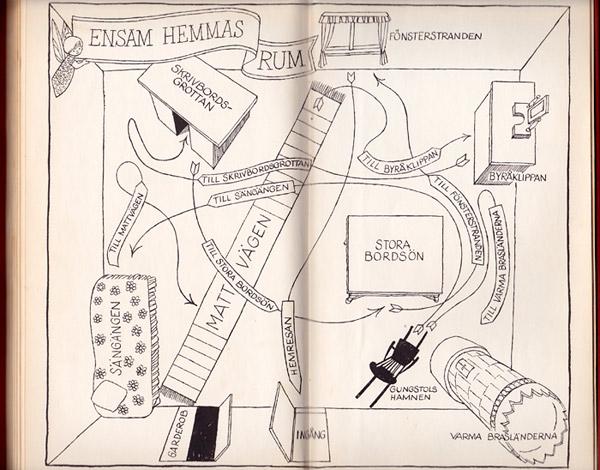 Tecknad karta av Hans Arnold i barnboken Fröken ensam hemma åker gunstol
