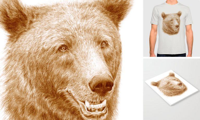 Tecknad brunbjörn trycksaker