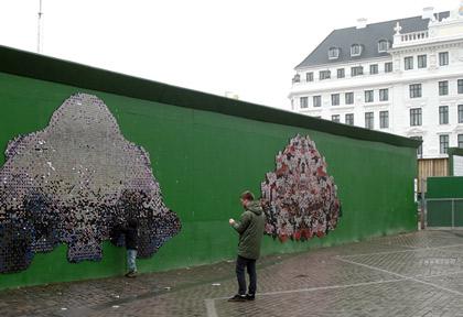 Tillfällig gatukonst på Kongens Nytorv i Köpenhamn