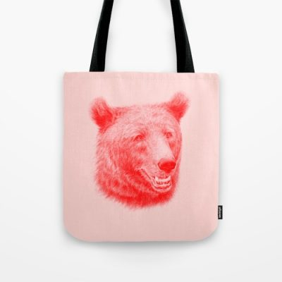 Tygkasse tryckt med teckning av björn