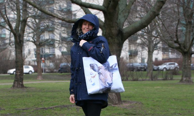 me and a tote bag with my animal print