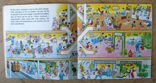 Barnboken Vi och vår jäktiga vardag, Busy day busy people, 1973