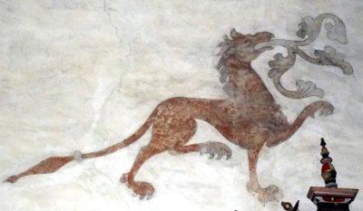 drake eller lejon medeltid väggmålning