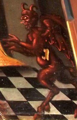Detalj av tavla med djävul
