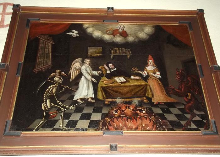 Himmel och helvete, döden, ängel, djävul på medeltida tavla från Gotland