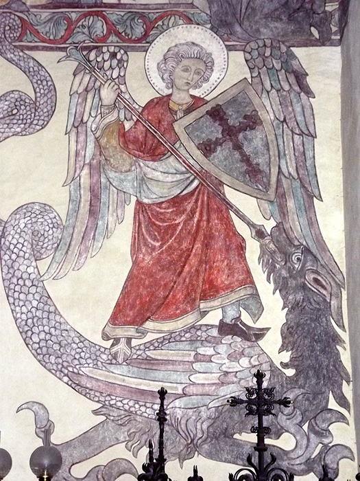 gotland medeltid väggmålning helgon riddare drake