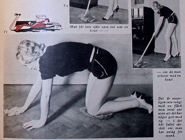 Artikel i Allers 1939 hur man städar och gympar samtidigt
